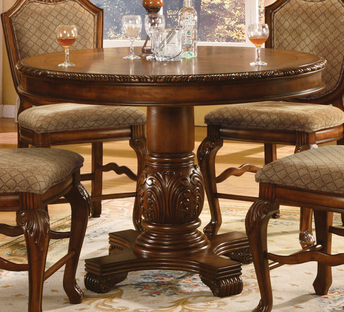 Standard Furniture Cosmo Adjustable Height Round Wood Top: Acme Chateau De Ville Round Counter Height Pedestal Tabe
