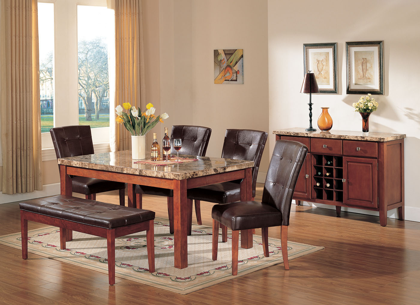 Acme Bologna 6 Pc Marble Top Rectangular Dining Table Set