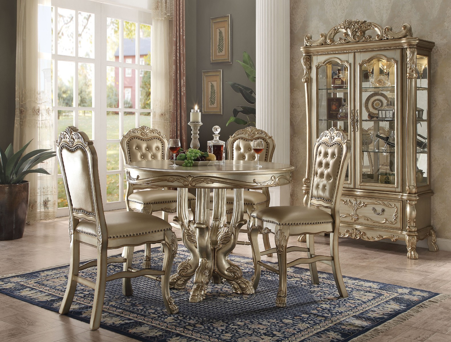 Acme Dresden 5 Piece Round Counter Height Dining Table Set In Gold Patina  By Dining Rooms Outlet