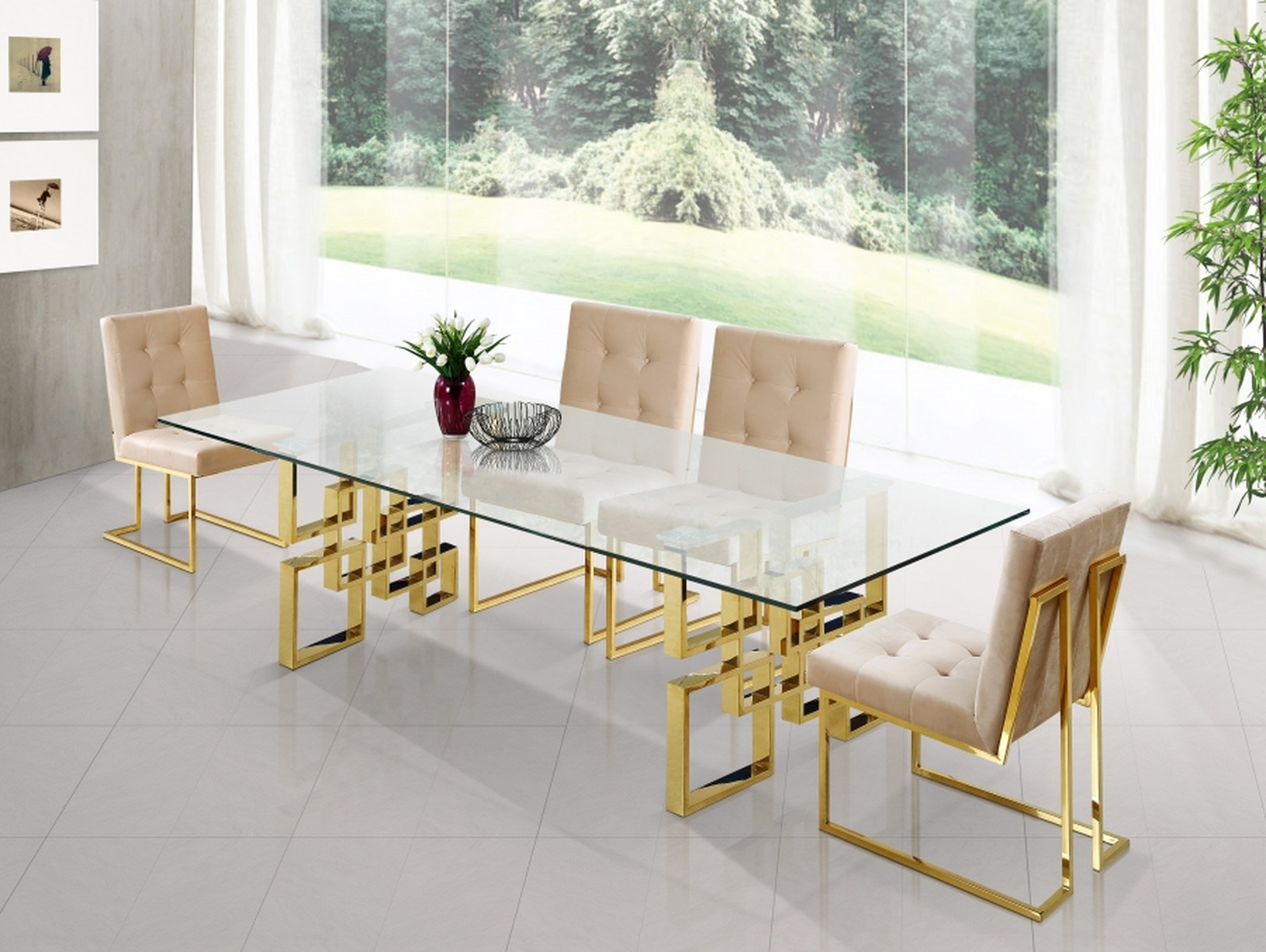 Meridian Furniture Pierre 5pcs Dining Room Set In Rich Gold Stainless Steel By Dining Rooms Outlet