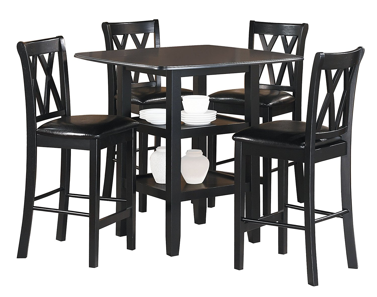 Homelegance Norman 5 Piece Counter Height Table Set In Black 2514bk 36 By Dining Rooms Outlet