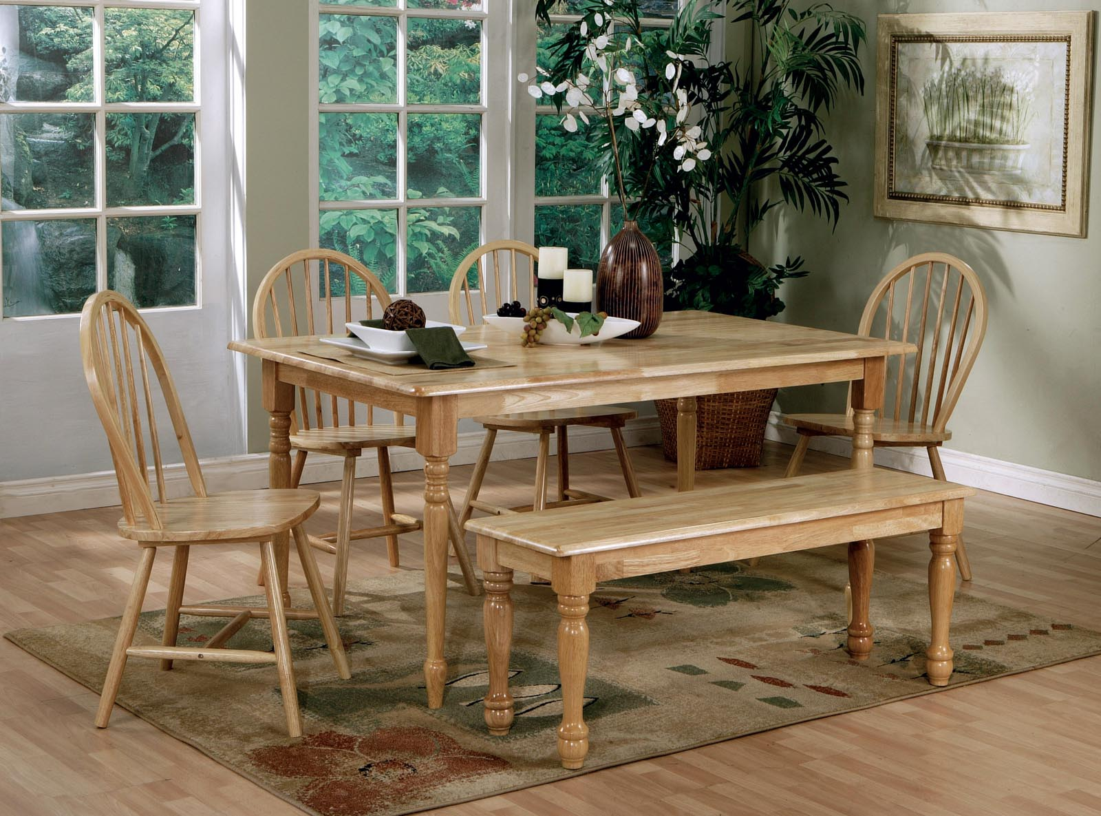 Coaster 6pc dining set in natural finish 4361s by dining rooms outlet
