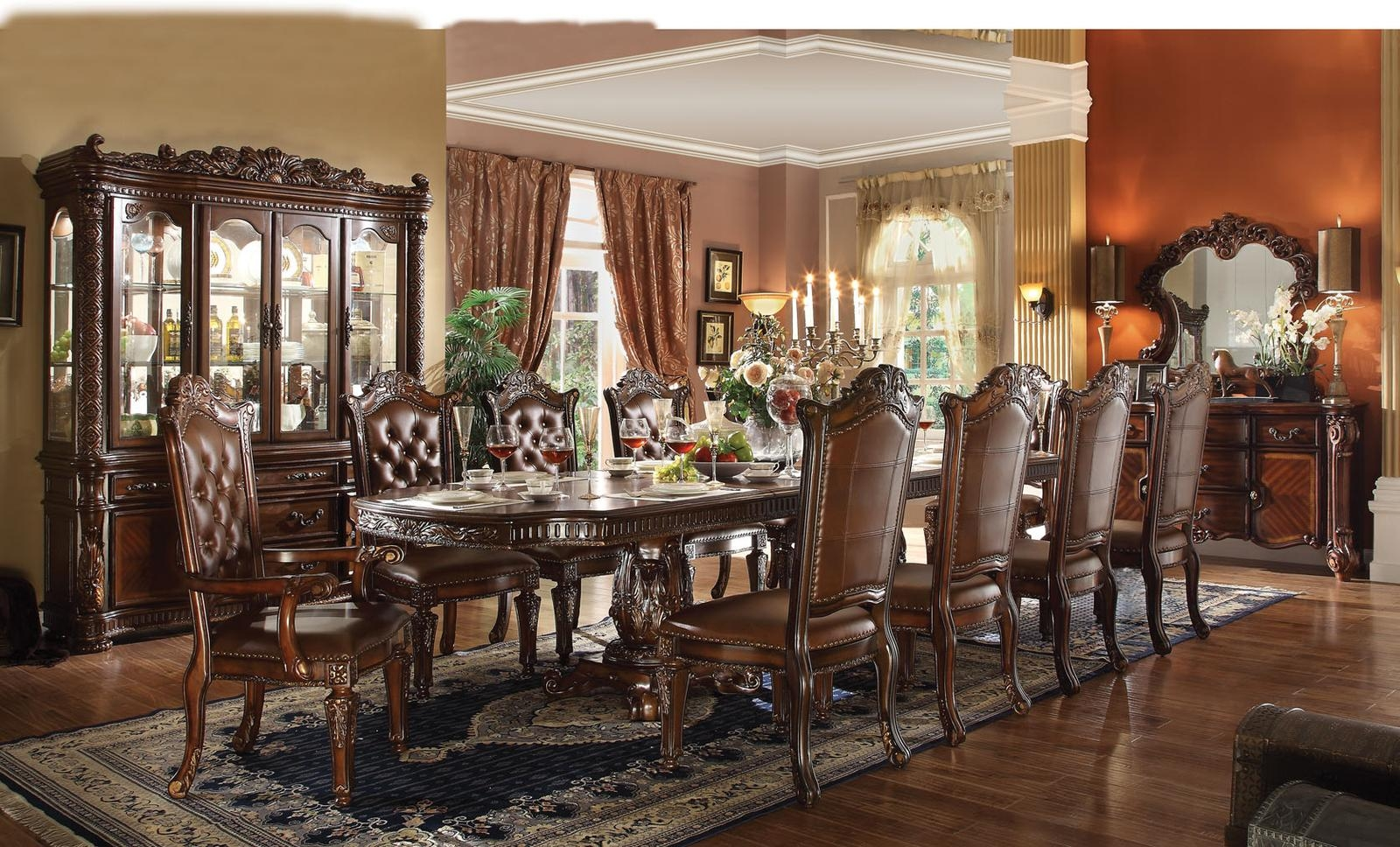 pedestal dining room table. Acme Vendome 11PC Double Pedestal Dining Room Set In Cherry By Rooms Outlet Table