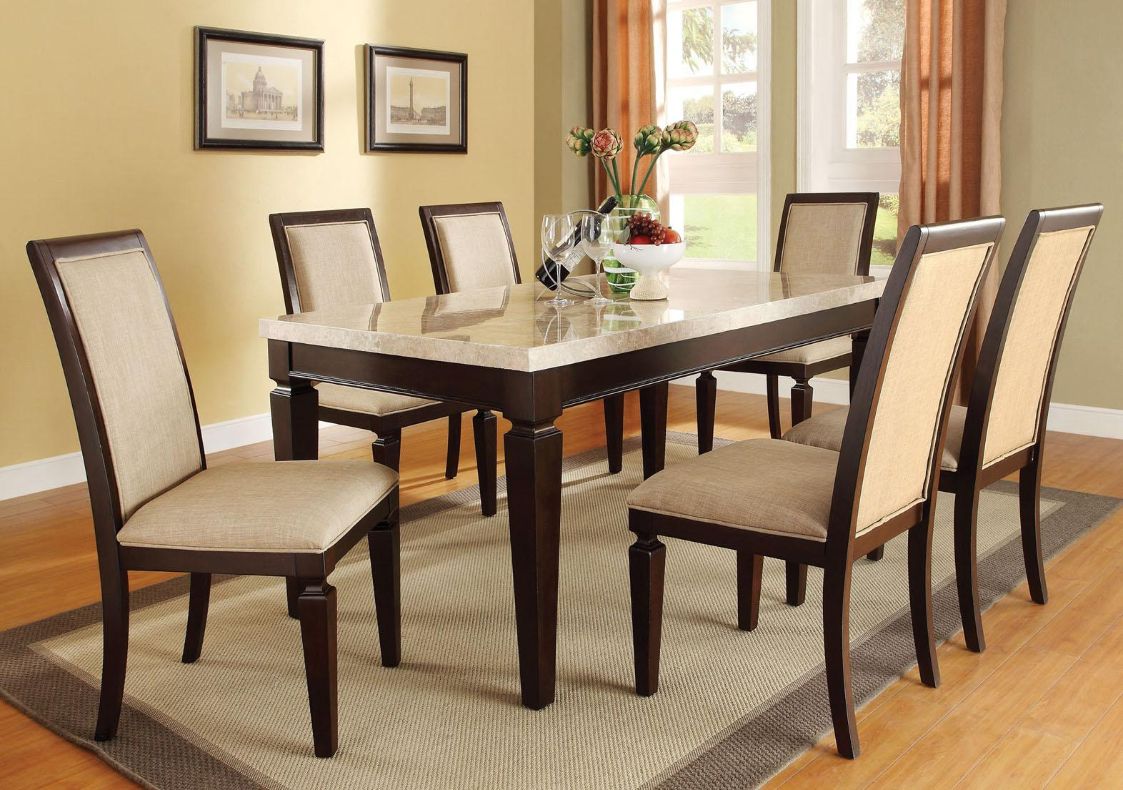 Acme agatha 7pc white marble top rectangular dining room set in espresso by dining rooms outlet