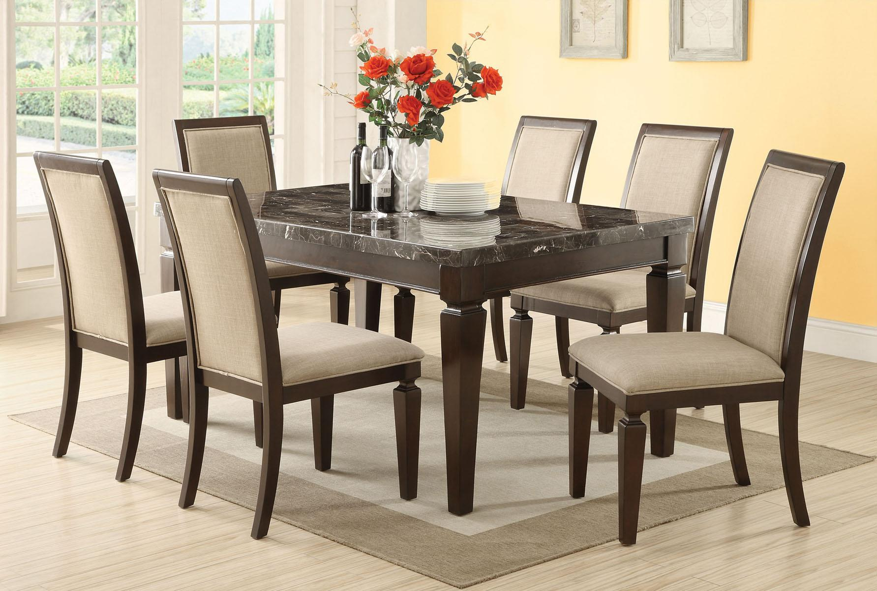 Acme Agatha 7PC Black Marble Top Rectangular Dining Room Set in ...