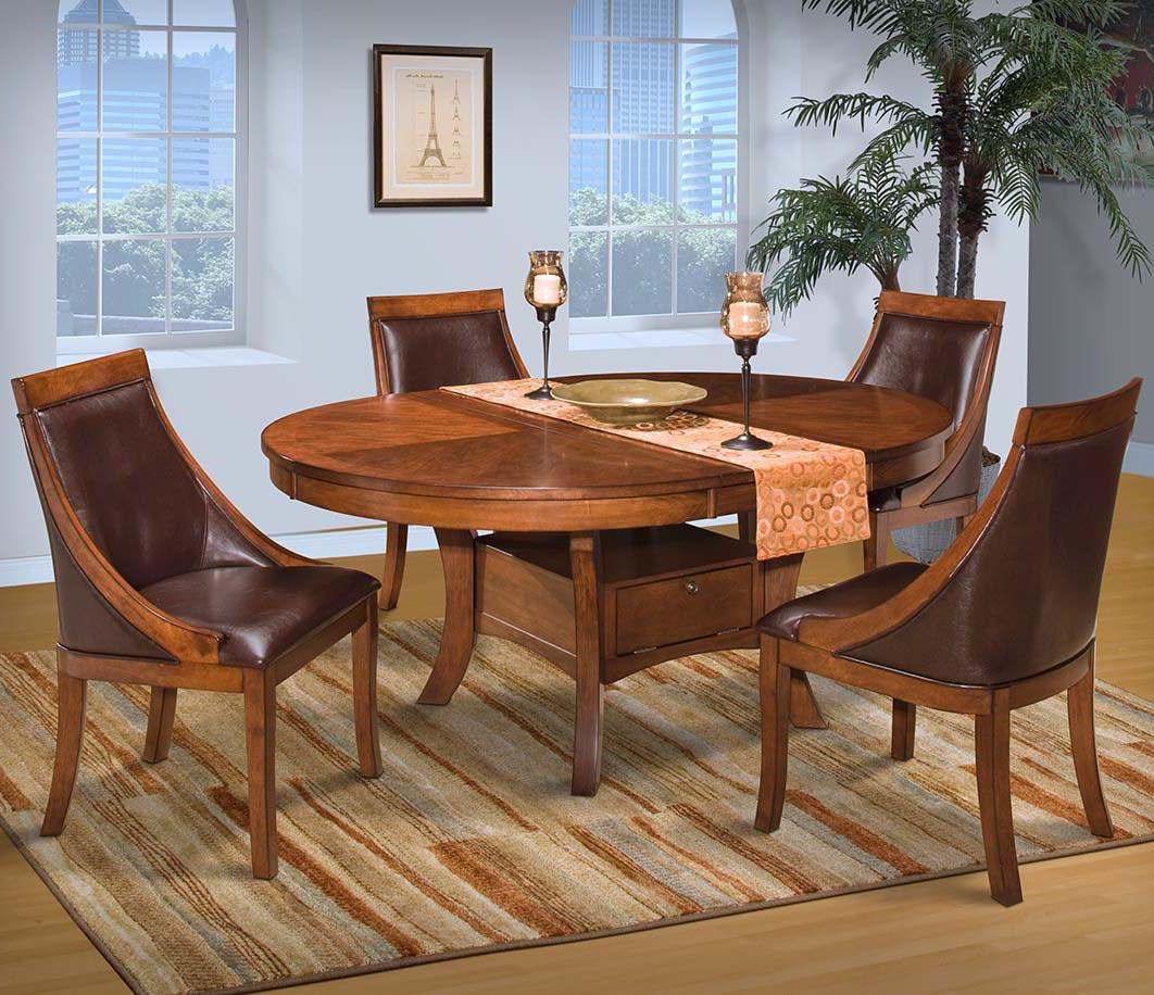New Classic Furniture Aspen 6 Piece Round Dining Set In