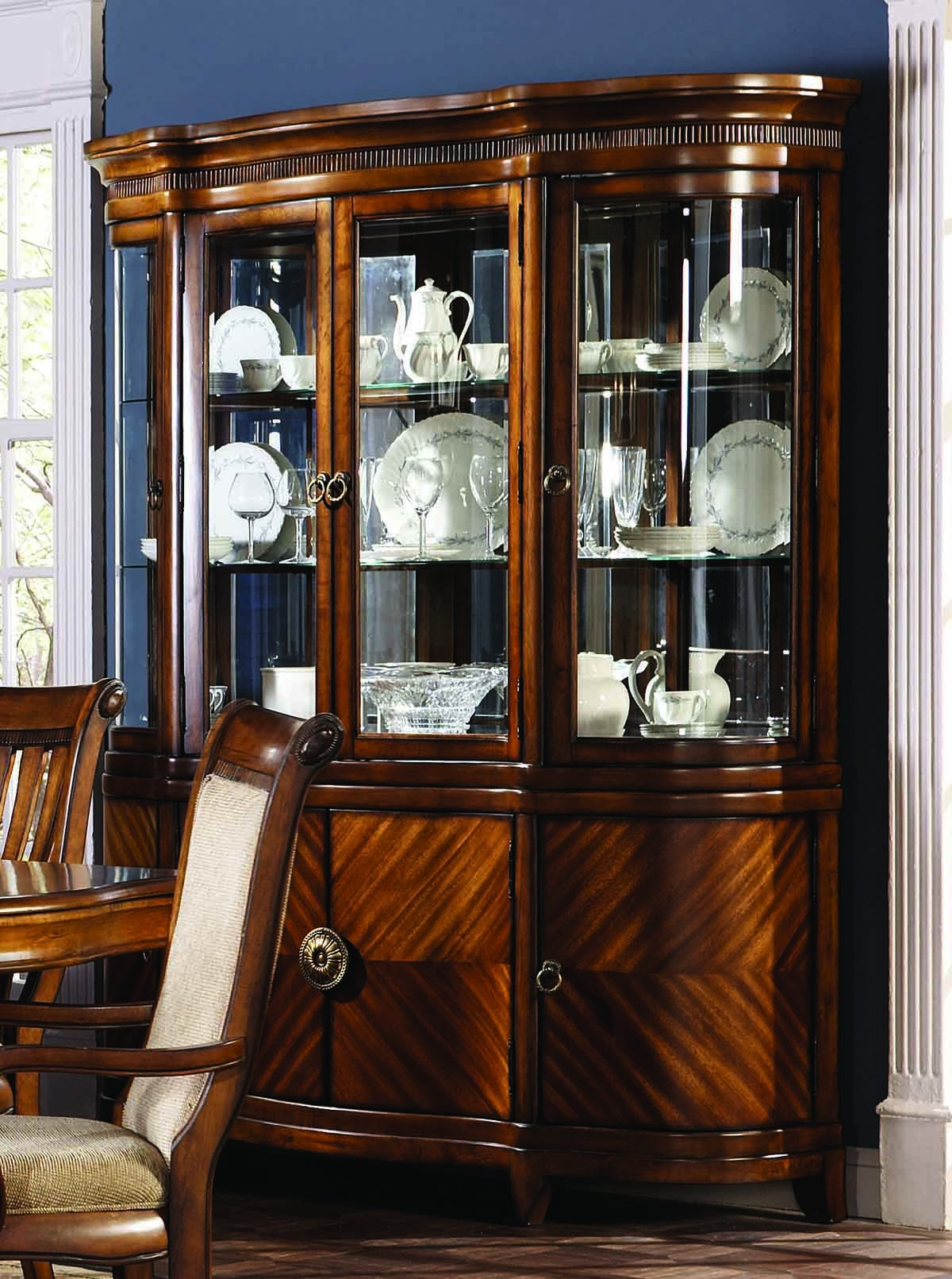 Furniture dining room furniture china cabinet curved for Dining room armoire