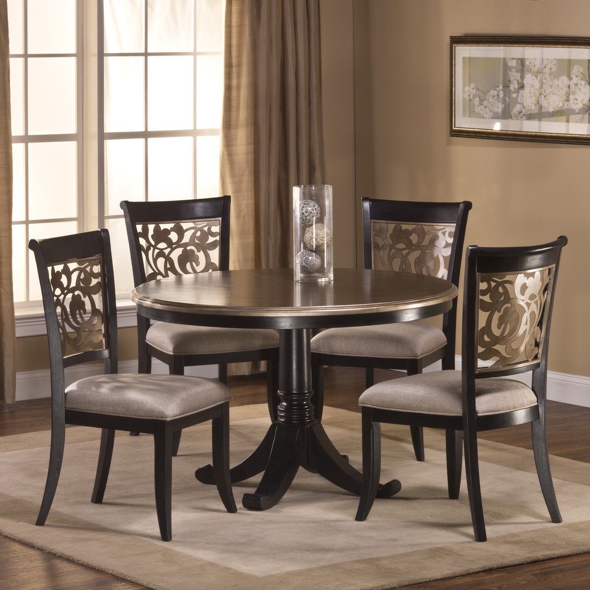 Hillsdale furniture bennington 5pc dining room set in for Black dining room furniture