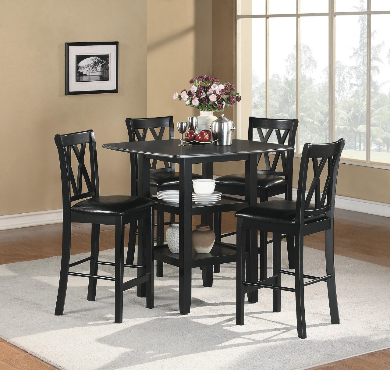 Stanton Counter Height Dining Table In Black: Homelegance Norman 5-Piece Counter Height Table Set In