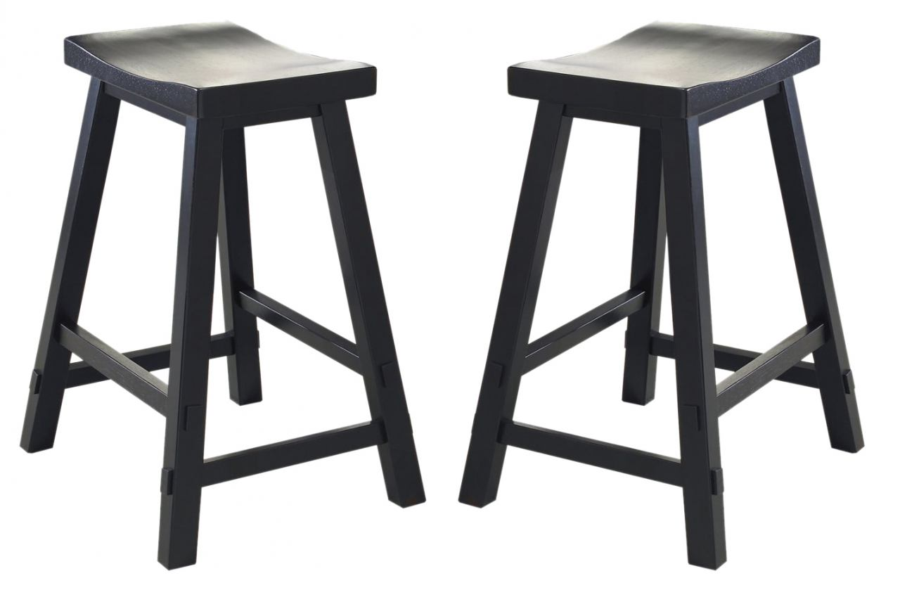Liberty Furniture Creations II 24 Inch Sawhorse Barstool in Black 48-B1824 (Set of 2)