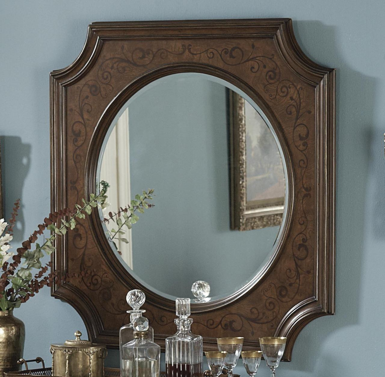 Homelegance Montvail Server Mirror in Cherry 2105-40M