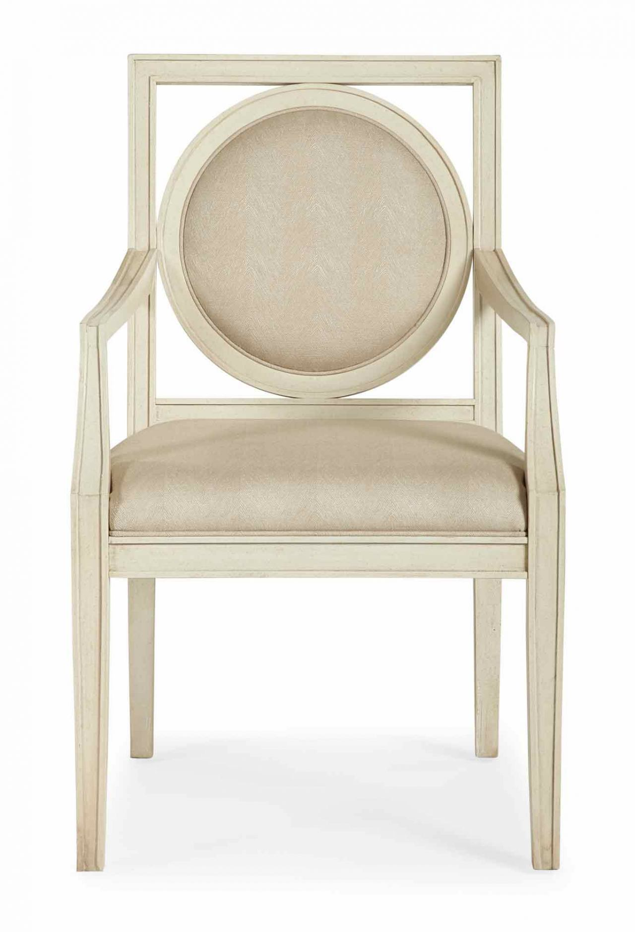 Bernhardt Salon Dining Arm Chair with Circular Wood-Framed Back in Alabaster (Set of 2) 341-562