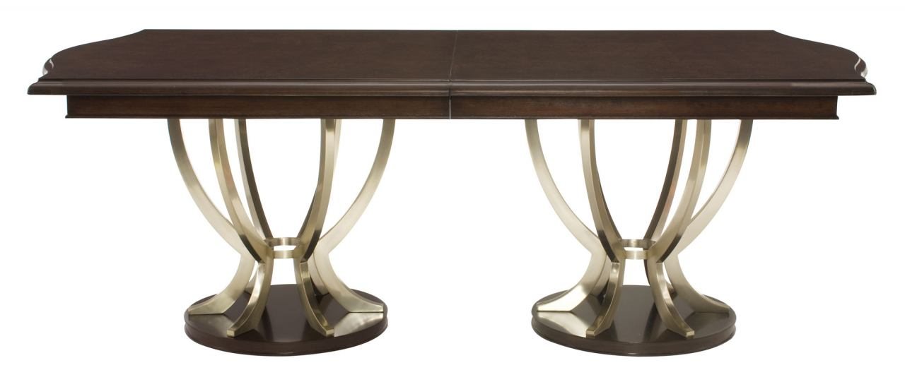 Bernhardt Miramont Extendable Double Pedestal Dining Table in Dark Sable Finish