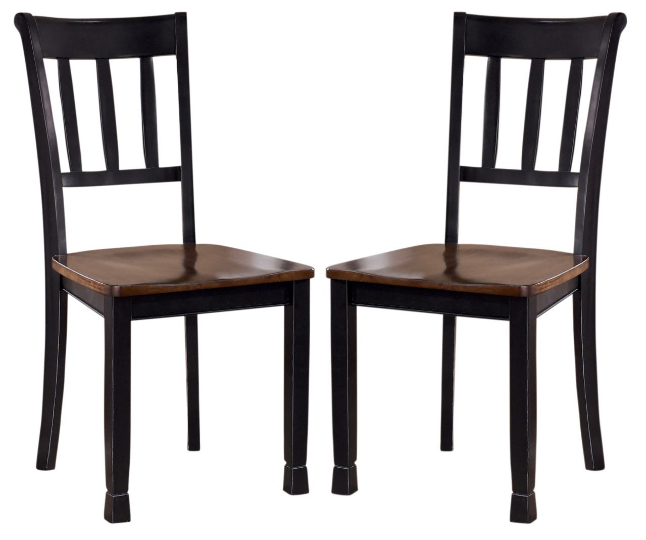Owingsville Slat Back Side Chair in Black & Brown (Set of 2) D580-02 CLEARANCE