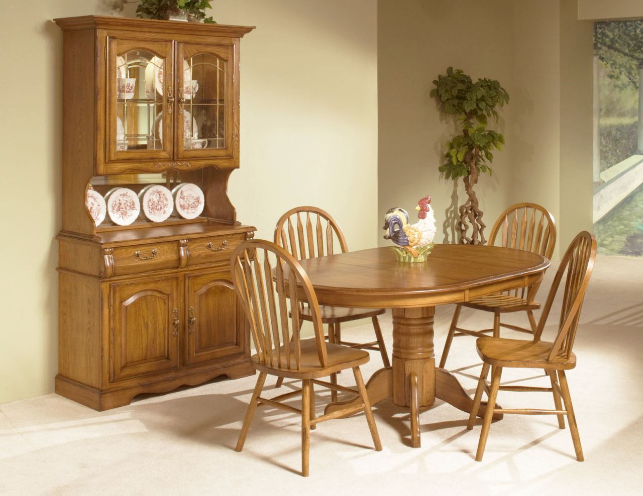 Intercon Furniture Classic Oak 7 Piece Solid Pedestal Dining Room Set In Chestnut