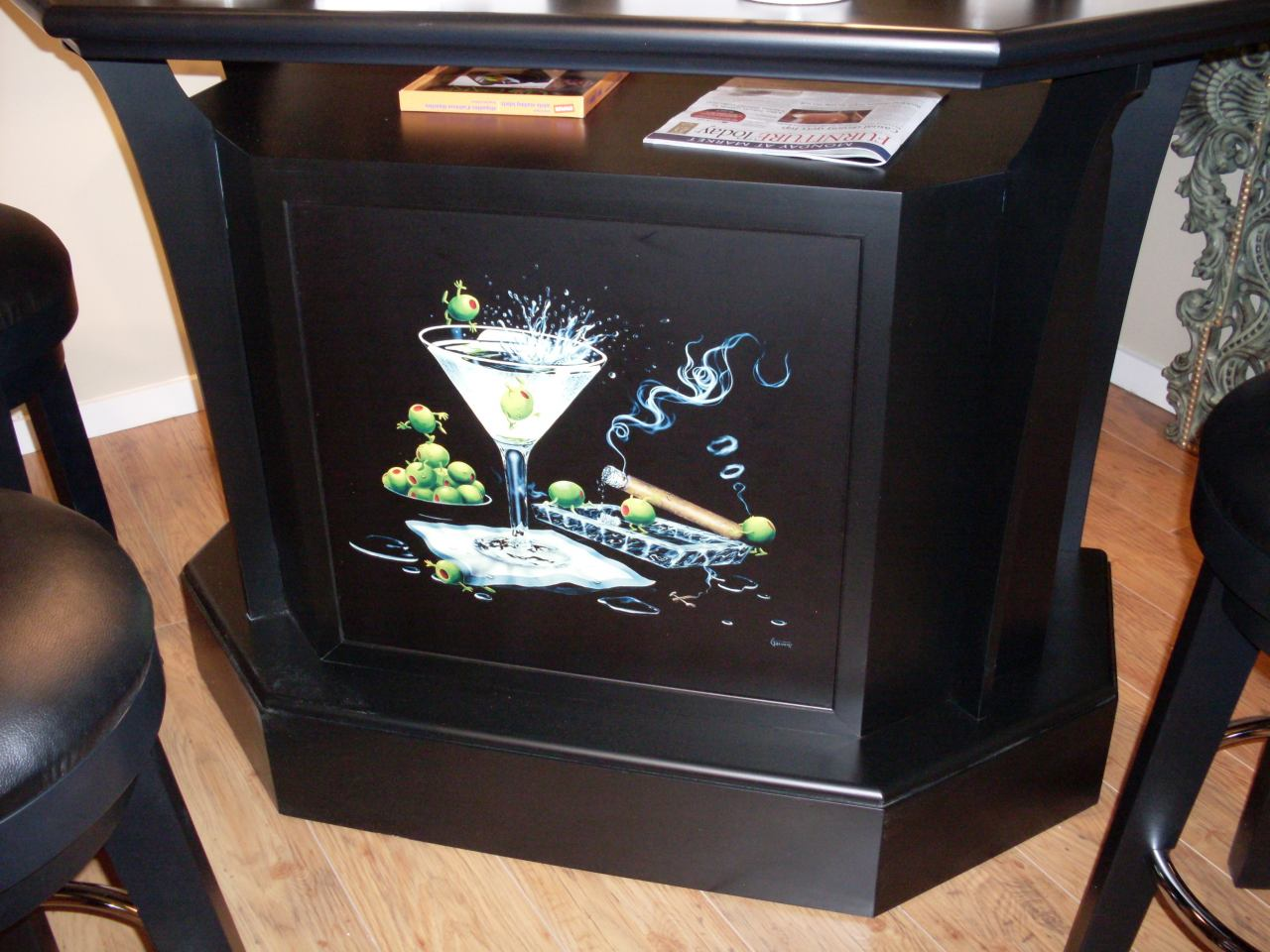 ECI Furniture Godard Bar, Olive Party II in Black 4800-00-TB