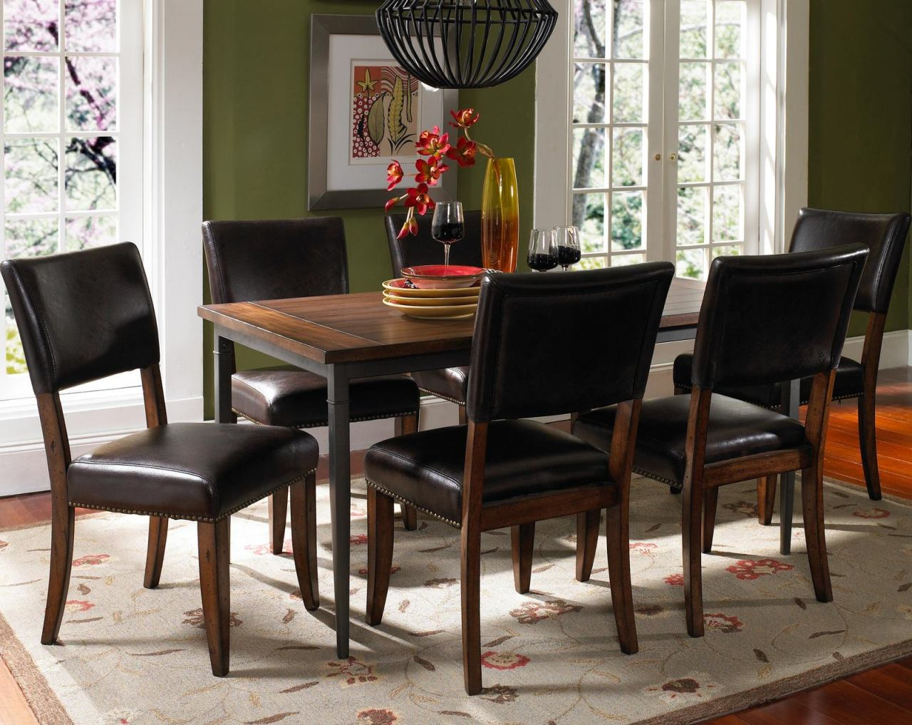 Hillsdale Cameron 7pc Rectangle Dining Room Set w/ Parson Dining Chairs in Chestnut Brown