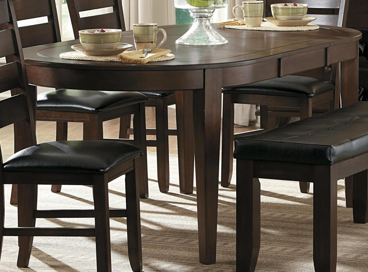 Homelegance Ameillia Oval Dining Table in Dark Oak 586-76