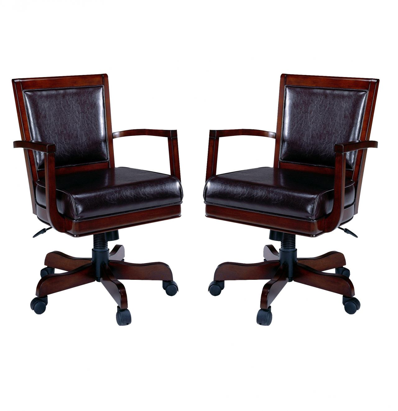 Hillsdale Ambassador Tilt/Swivel Adjustable Height Caster Game Chair in Medium Brown Cherry (Set of 2) 6124-801