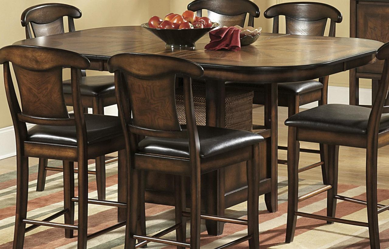 Homelegance Westwood Counter Height Table in Burnish Oak 626-36