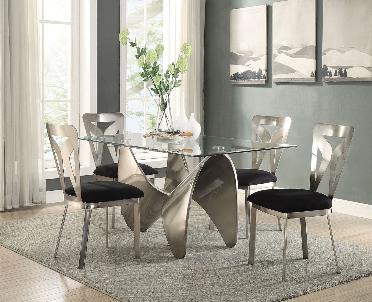 Acme Furniture Widforss 5pc Rectangular Dining Set in Antique Silver