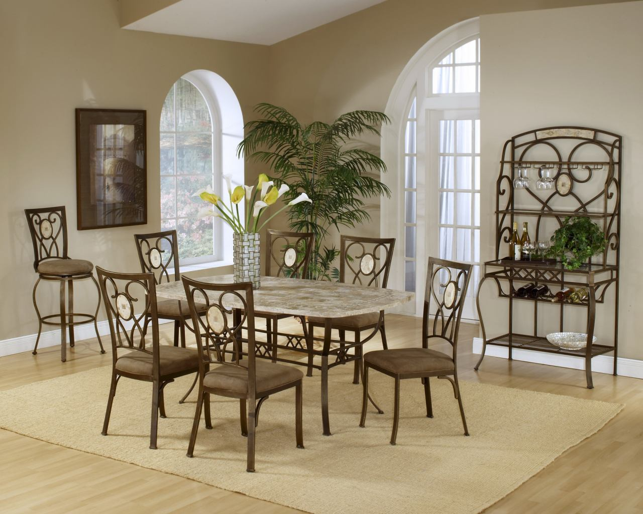 Hillsdale Brookside 7pc Rectangle Dining Room Set with Oval Fossil Back Dining Chairs in Brown Powder Coat