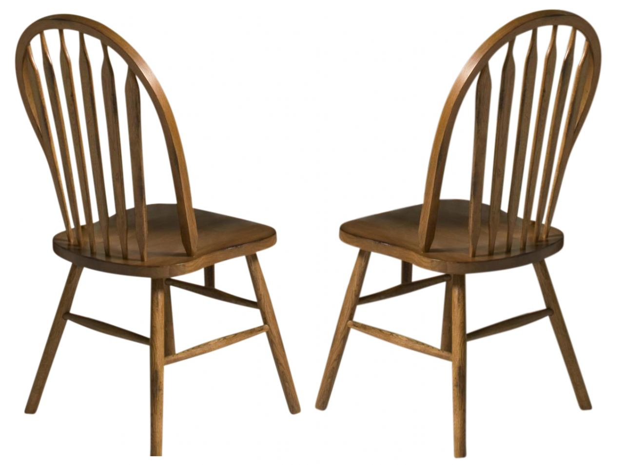 Intercon Furniture Classic Oak Plain Arrow Back Side Chair (Set of 2) in Burnished Rustic