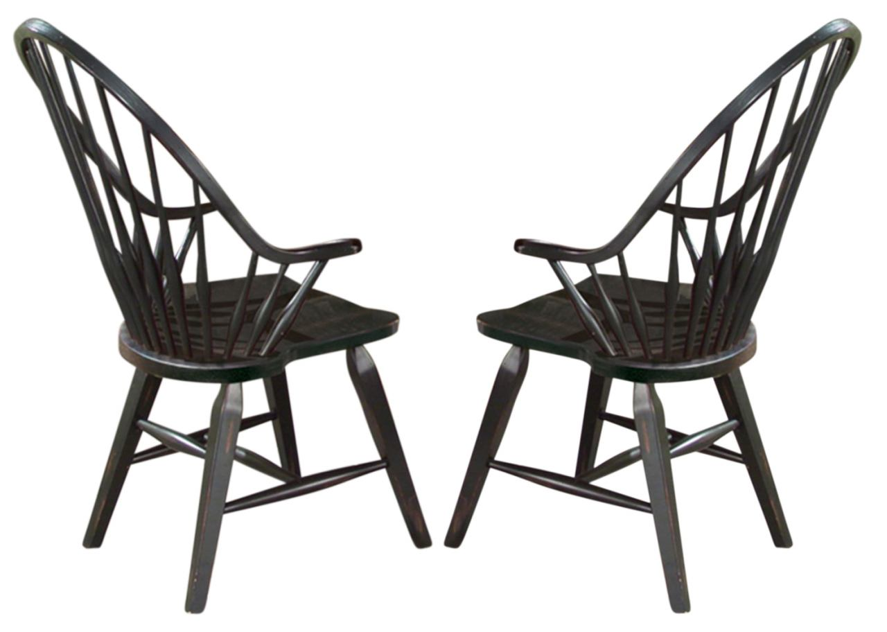 Intercon Furniture Rustic Traditions Windsor Arm Chair in Black (Set of 2)
