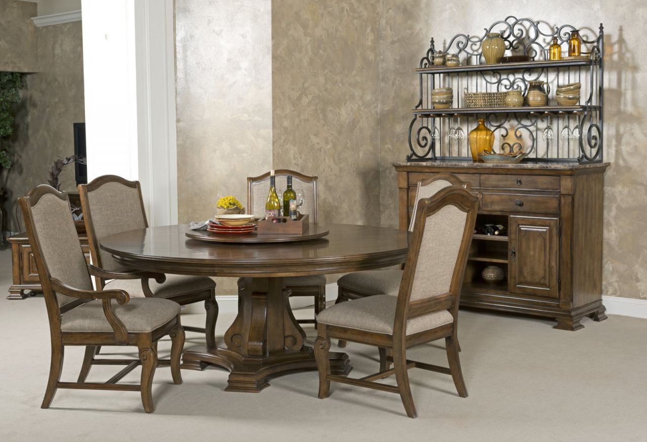 "Kincaid Portolone Stellia 72"" Round Pedestal Dining Set in Rich Truffle"