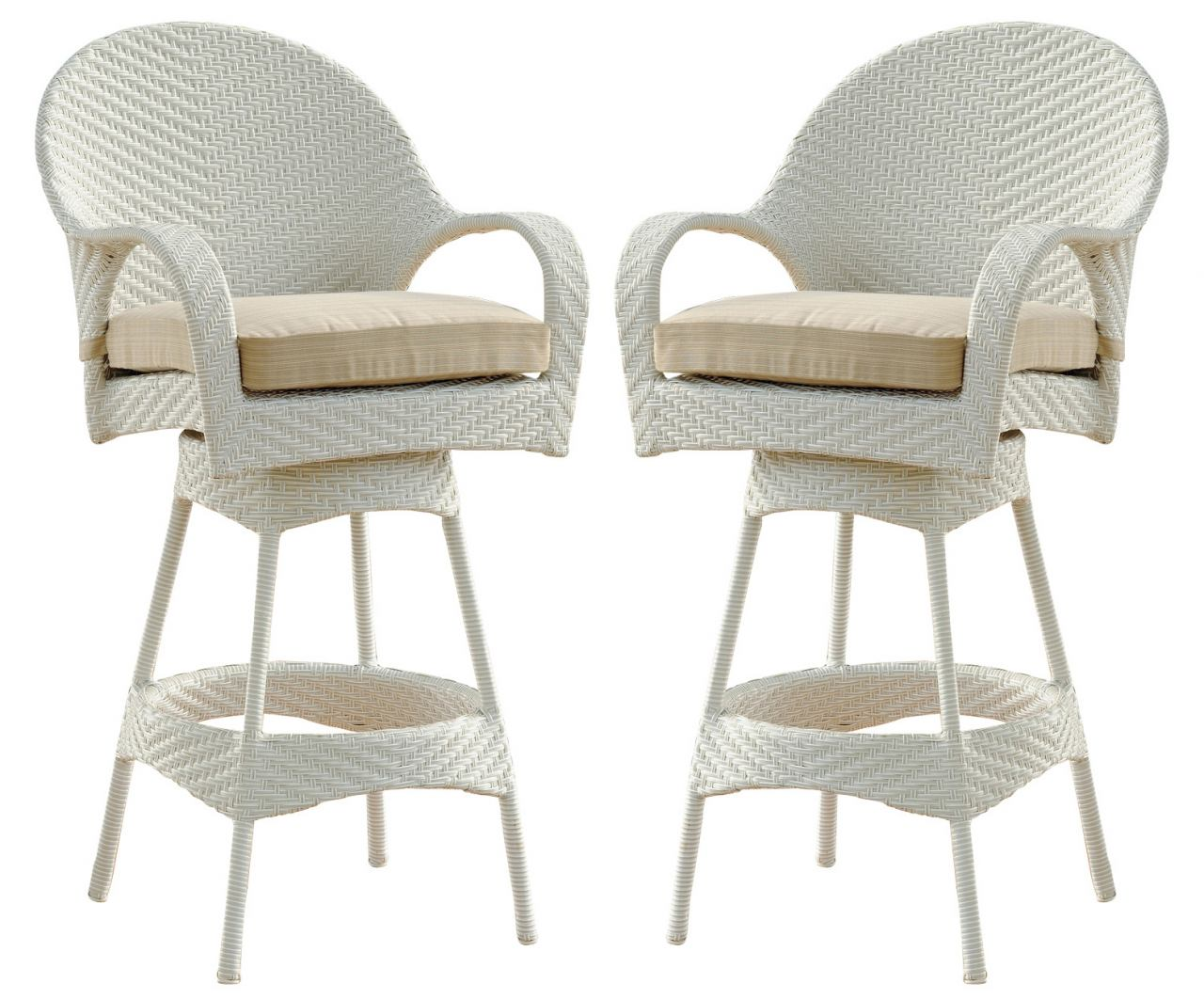 "South Sea Rattan Bahia Outdoor Bistro 30"" Bar Stool in Rustic White (Set of 2) 78309-30"