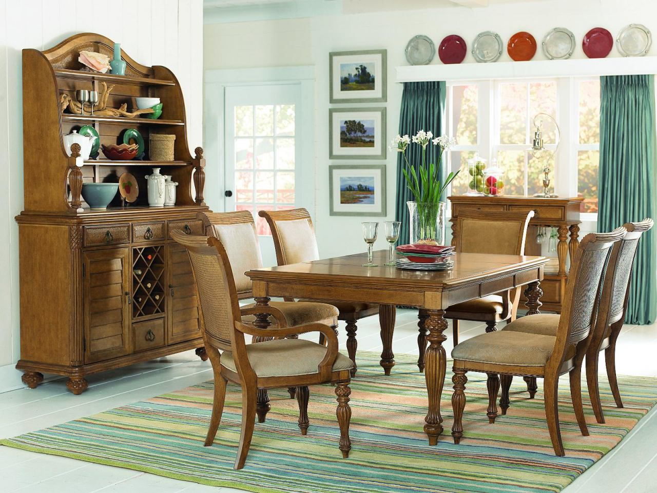 American Drew Grand Isle 7pc Rectangular Dining Set in Amber