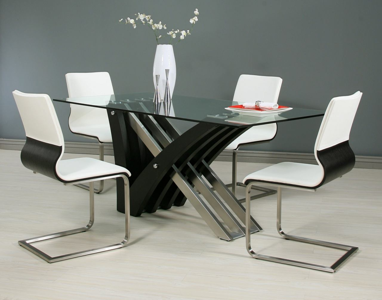 Pastel Furniture 5pc Akasha Rectangular Dining Room Set with Charlize Side Chairs in Wenge