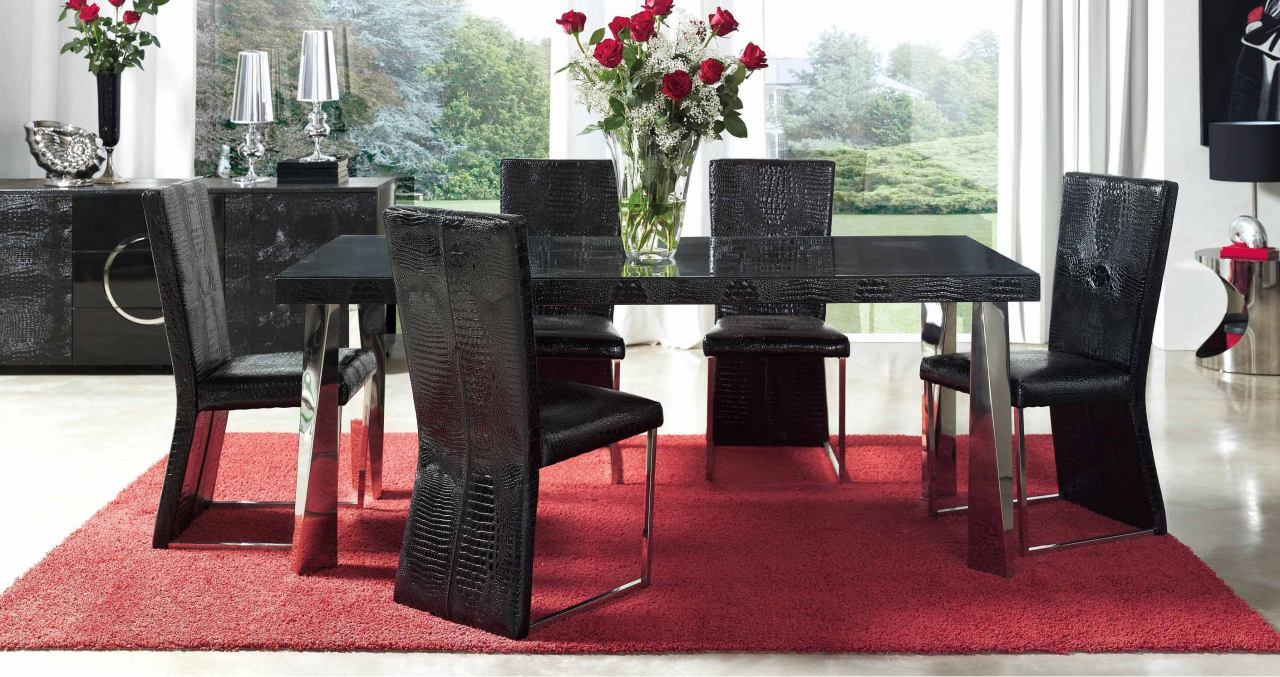 ESF Furniture Coco 7-Piece Dining Room Set in Black