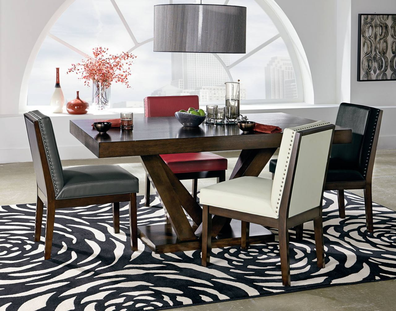 standard furniture couture elegance 6 piece pedestal dining table
