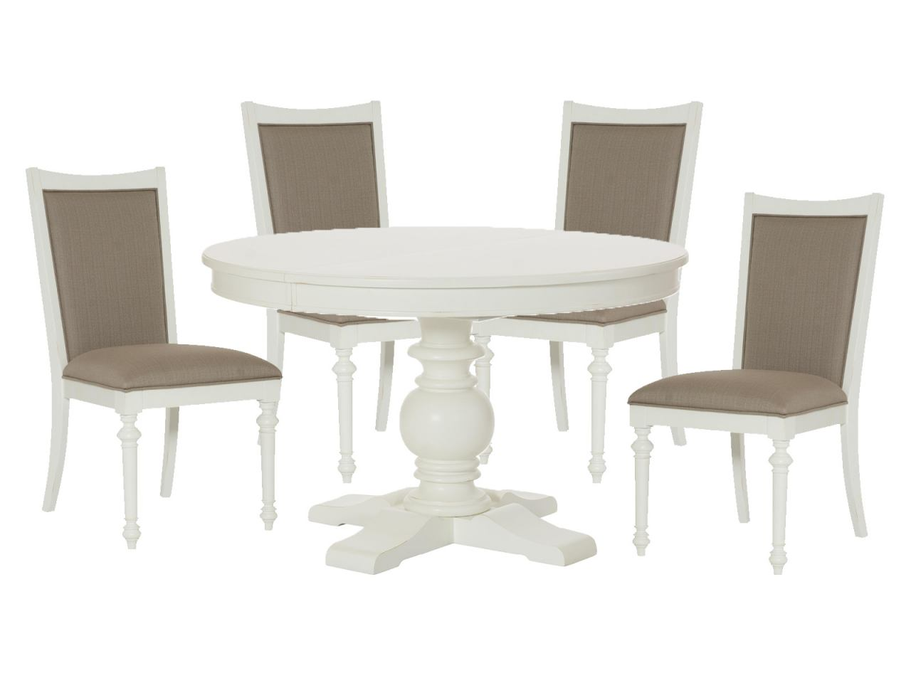 American Drew Lynn Haven 5-Piece Round Dining Set in Dover White