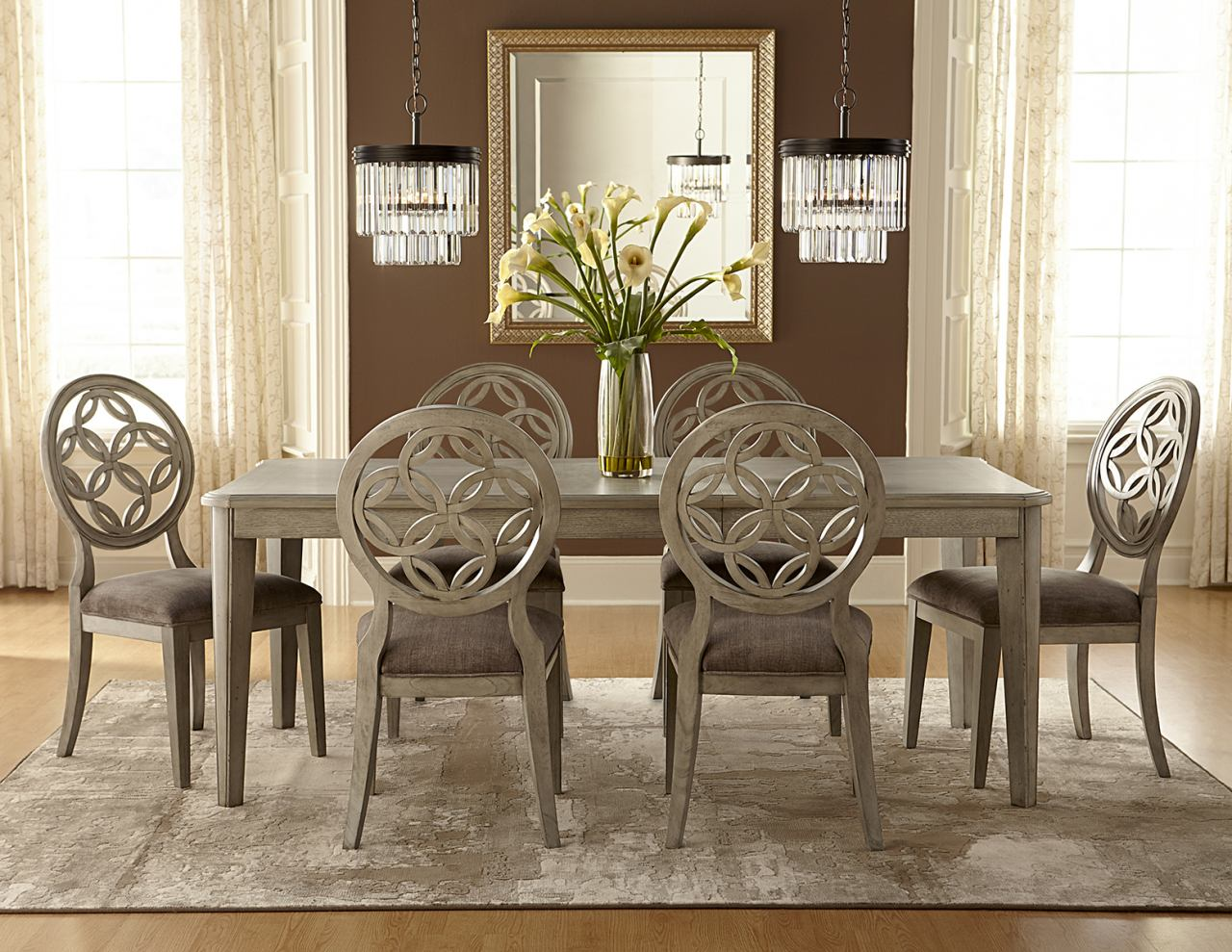 Hillsdale Furniture Savona 7pc Dining Room Set in Vintage Gray