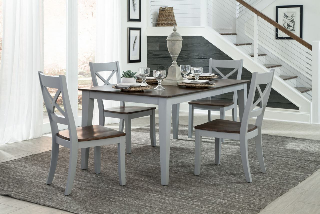 Intercon Furniture Small Space 6-Piece Fixed Top Dining Room Set in Cherry & Gray