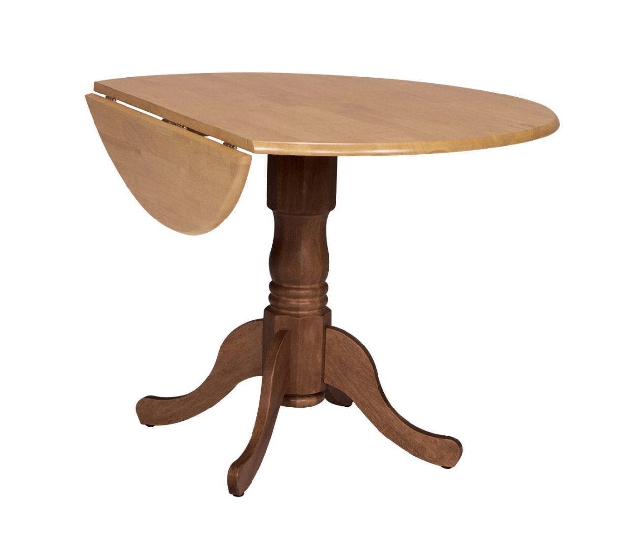 "John Thomas Furniture Dining Essentials 42"" Dropleaf Round Table in Cinnamon/Espresso T58-42DP"