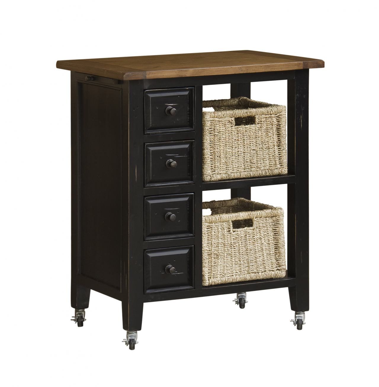 Hillsdale Tuscan Retreat™ Kitchen Cart with Four Drawers & Two Shelves with Two Baskets in Black 5267-883W