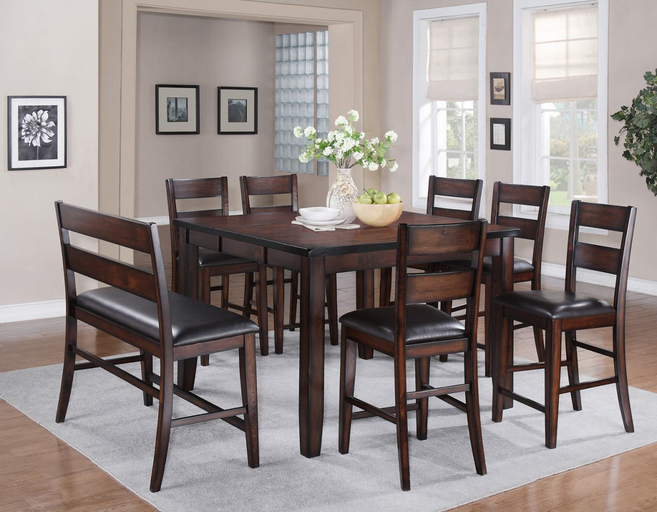 Crown Mark Maldives 8 Piece Counter Height Set in Brown