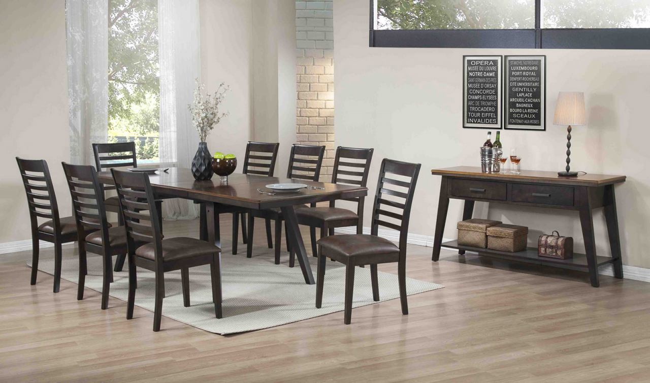 ECI Furniture Lexington 7-Piece Large Self-Storing Dining Set in Walnut