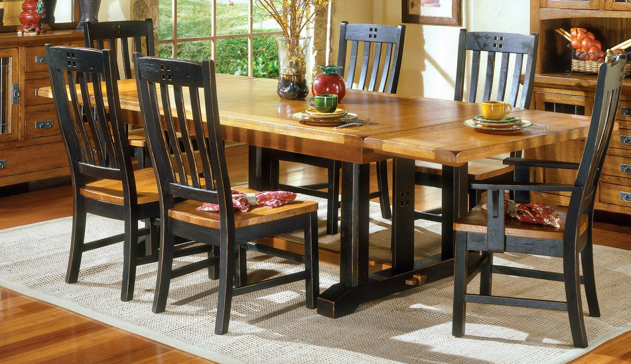 Intercon Furniture Rustic Mission Trestle Dining Table in Rustic/Black