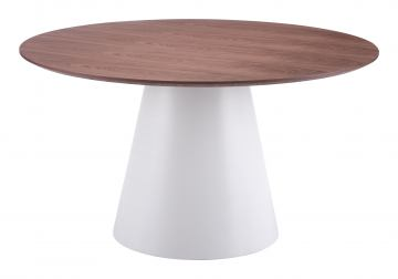 Zuo Modern Query Dining Table in White & Walnut 100271