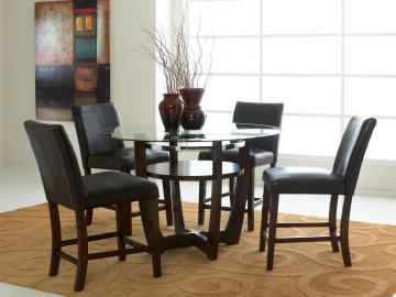 Standard Furniture Apollo Round Glass Counter Height Table Set in Deep Brown 10800