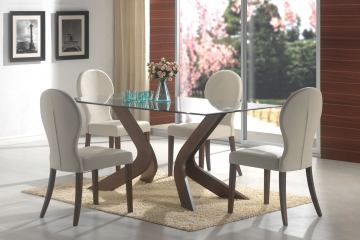 Coaster San Vicente 5pc Glass Top Dining Set in Walnut 120361S