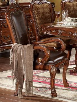 Acme Dresden Pedestal Dining Arm Chairs in Brown Cherry Oak 12154 (Set of 2) SPECIAL