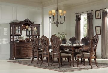 Homelegance Golden Eagle 9pc Dining Table Set in Antique Caramel