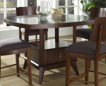 Somerton Perspective Counter Height Dining Table in Chestnut Brown