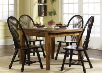 Liberty Furniture Treasures 5pc Retractable Leg Table Set in Rustic Oak Finish and Black 17-T3