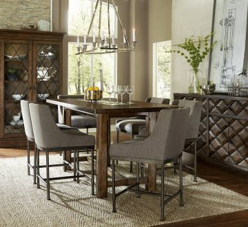 A.R.T Furniture Echo Park 7-Piece Counter Height Dining Room Set in Mocha